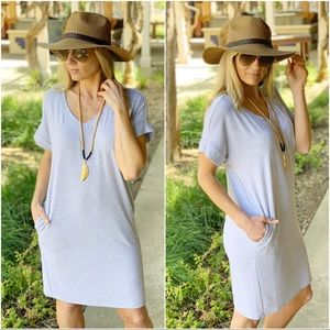 Heather gray v Neck tee shirt dress